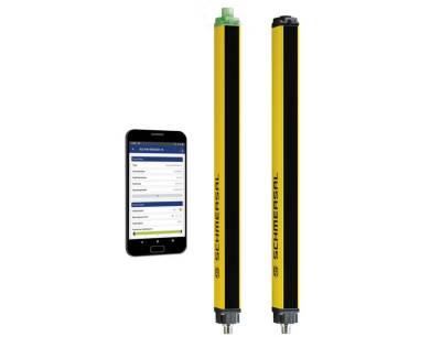 Alle Status- und Diagnosedaten über den Betriebszustand des Sicherheitslichtgitters sind ganz einfach und in Echtzeit über Smartphones oder Tablets abrufbar