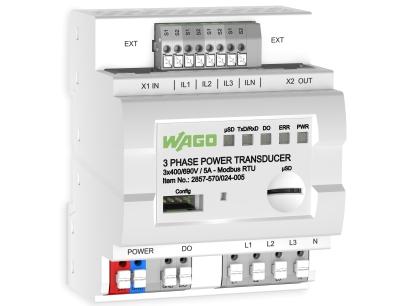Mit dem neuen 3-Phasen-Leistungsmessumformer von Wago lassen sich elektrische Versorgungsnetze überwachen