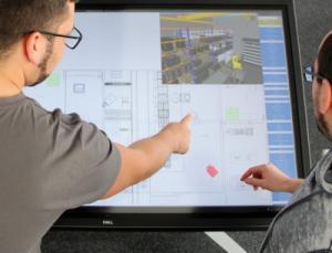 Am digitalen Fabrikplanungstisch lassen sich die Elemente ganz einfach verschieben