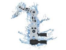 Durch die schmiermittelfreie und korrosionsbeständige Kombination aus Kunststoff und Edelstahl besitzt der neue Robolink die Schutzklasse IP44, Bild: Igus